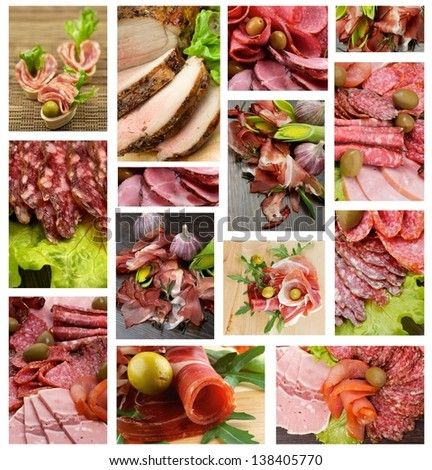 Collection of Meat and Sausages with Bacon, Hamon, Salchichone, Roasted Beef, Salami, Smoked Pork, Vegetables and Green Olives - stock photo