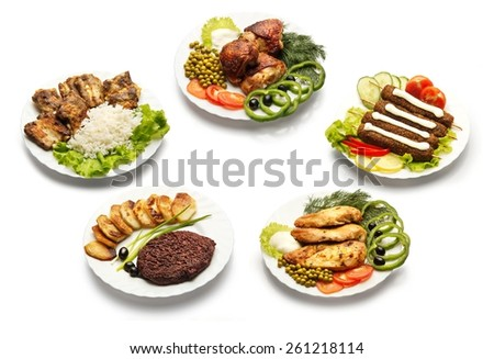 Collection of meat meals on a white background. - stock photo