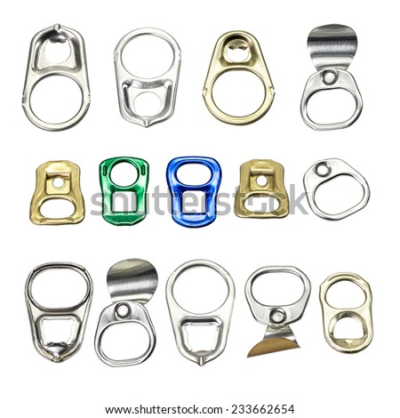 Collection of metal ring pull for can opener isolated on white - stock photo