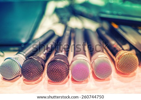 collection of microphones and dj equipment at a concert, in backstage - stock photo