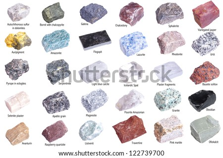 Collection of 30 minerals isolated on white background - stock photo