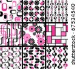 Collection of mod seamless patterns in pink and black (jpg); vector version also available - stock vector