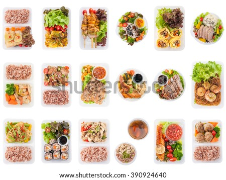 Collection of modern style cuisine cooked by clean food concept including European, Japanese, Thai, and Chinese food style in lunch box isolated on white background - stock photo