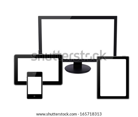 collection  of modern technology devices - computer monitor, digital tablet and mobile phone with blank screen isolated on white background