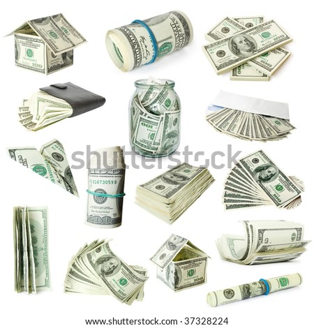 collection of money isolated on white background - stock photo