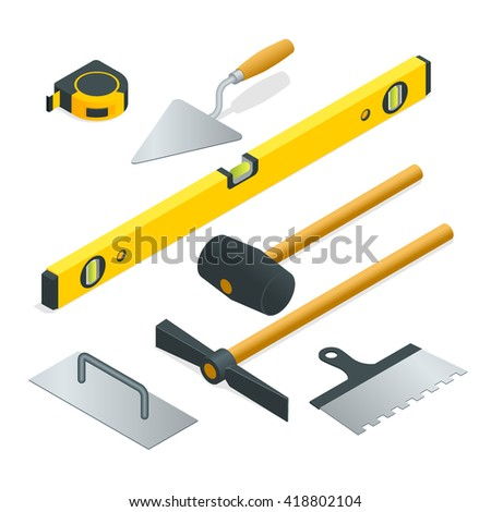 Collection of most common types of masonry tools. Flat 3d isometric illustration. - stock photo