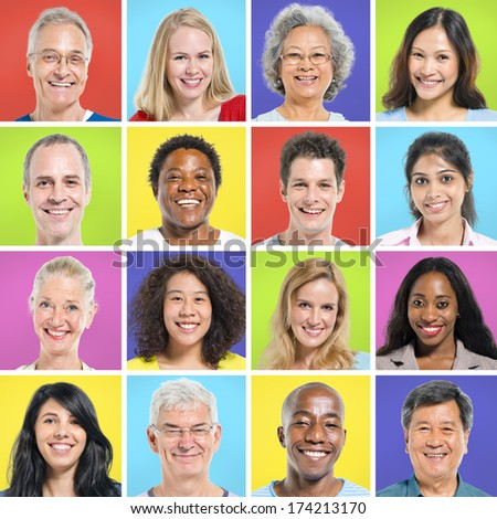 Collection of multi-ethnic happy people