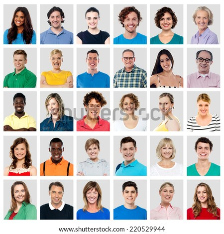 Collection of multi ethnic people with wide smiles - stock photo