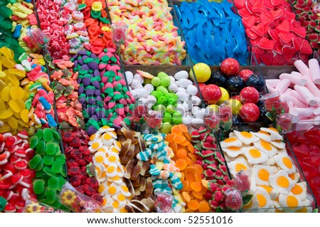 collection of multicolored chewing candies - stock photo