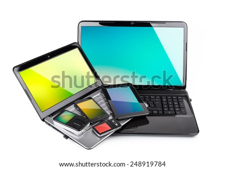 Collection of multimedia devices with coloured wallpapers - isolated white background