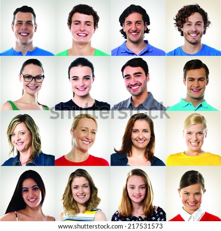 Collection of multiracial group of smiling people