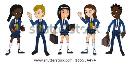 Collection of multiracial school kids on a white background - stock photo