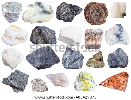 collection of natural mineral specimens - apatite, anhydrite, chalk, molybdenite, bornite, halite, chromite, wolframite, antimonite, bauxite, barite, sulfur, talc, magnetite, limonite, etc, isolated
