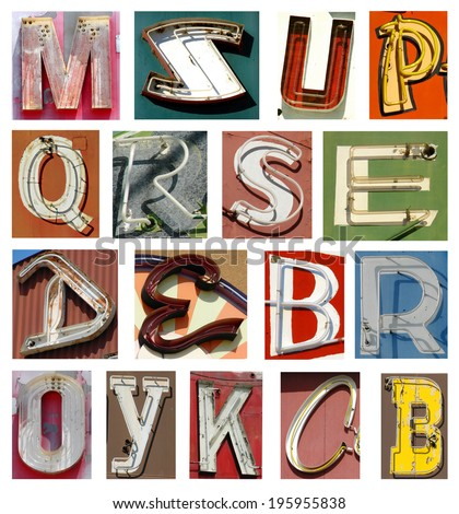 collection of neon letters - stock photo
