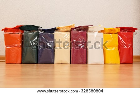 Collection of new colorful paper table napkins