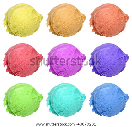 Collection of nine colored ice cream scoops isolated on white - stock photo