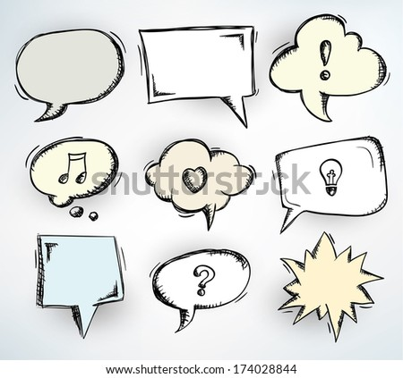 Collection of nine different doodled speech bubbles - raster version of vector illustration - stock photo