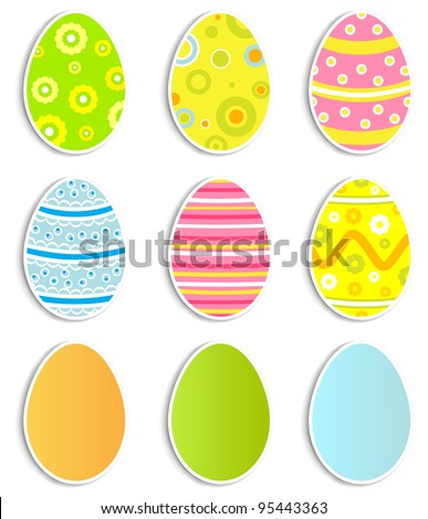 Collection of nine Easter eggs, illustration