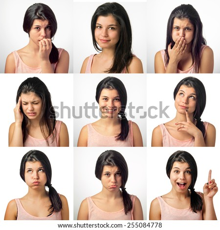Collection of nine portrait with a girl in various facial expressions - stock photo