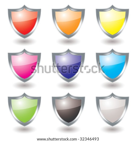 Collection of nine silver shields with color variations and shadow