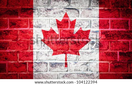 Collection of North America flag on old brick wall texture background, Canada - stock photo