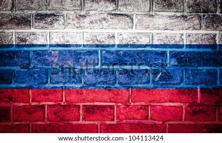 Collection of North America flag on old brick wall texture background, Russia - stock photo
