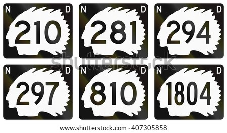 Collection of North Dakota Route shields used in the United States.