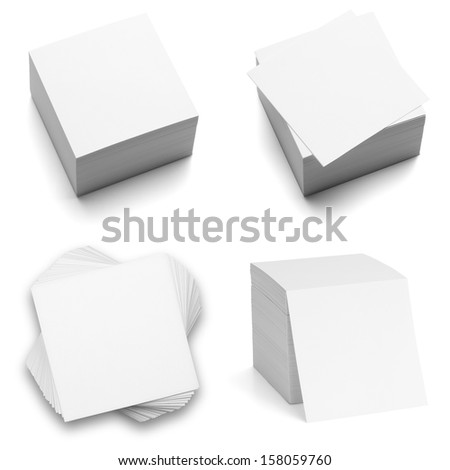 Collection of note paper stacks, isolated on the white background, clipping path included. - stock photo