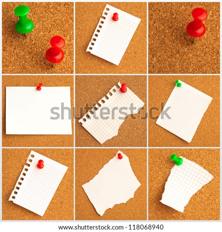 Collection Of Note Papers With Push Pin On Bulletin Board - stock photo