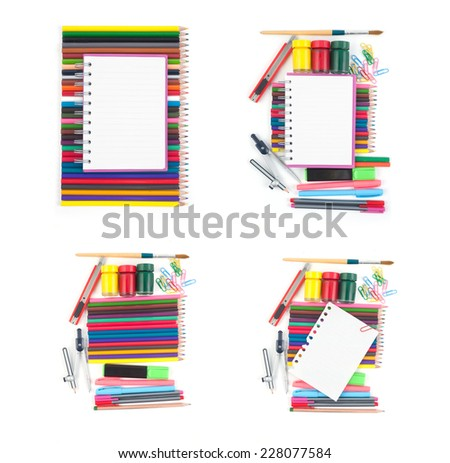 Collection of Notebook and school or office tools set on white background - stock photo