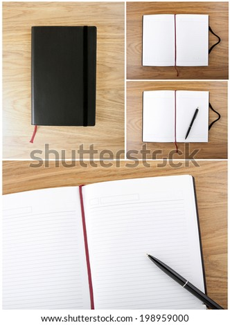 Collection of notebooks. Open blank book with lines, red bookmark, black cover and pen - stock photo