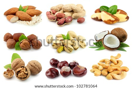 Collection of nuts: almonds,coconut,,peanut,brazilian nut,chestnut,filbert,cashew,walnut,pistachios - stock photo