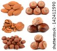 Collection of nuts on a white background - stock photo