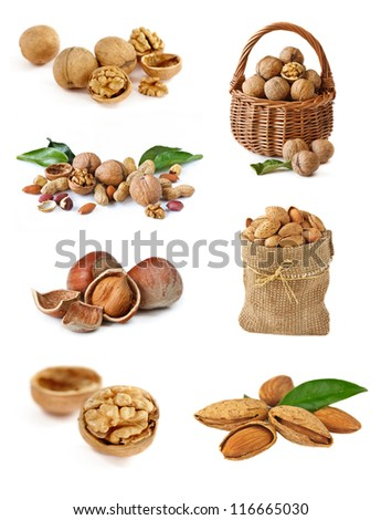Collection of nuts on white background.