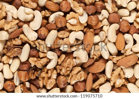 Collection of nuts such as peanuts, walnuts, almonds, hazelnuts, Brazil nuts and Macadamias forming a background