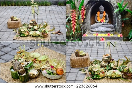 collection of offerings in Bali, Indonesia - stock photo
