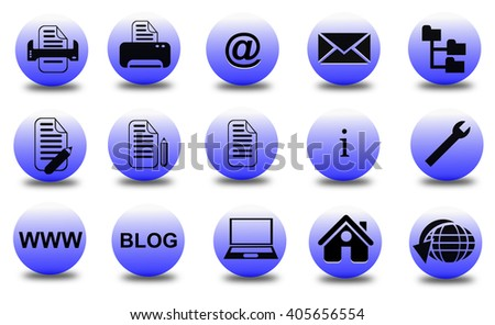 Collection of office, basic, business icons on white background.
