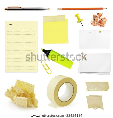 Collection of office stationery, isolated on white. - stock photo