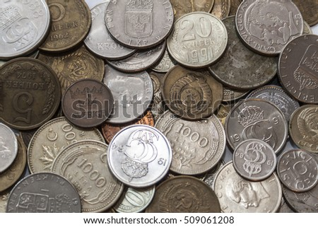Collection of old coins from all over the world