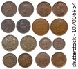 collection of old coins (Great Britain, Australia, India, Ceylon and British north Borneo) - stock photo