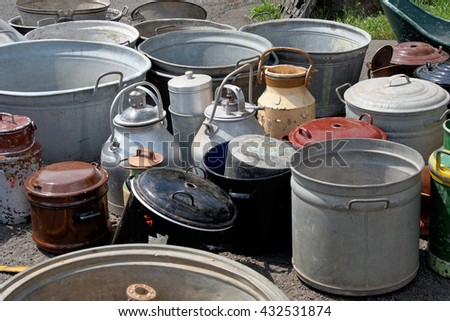 Collection of old flea market churns