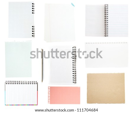 collection of old note paper on white background. - stock photo