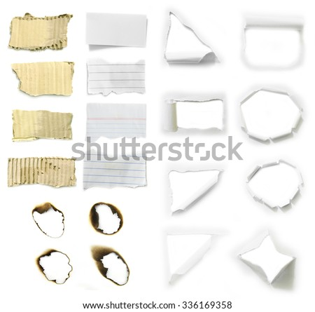 collection of old note paper paper on white background. - stock photo