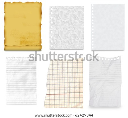 collection of old note paper paper on white background - stock photo