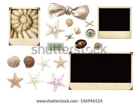 Collection of old photos and starfishes for scrapbooking. Isolated over white - stock photo