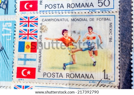 Collection of old postage stamps from different countries and themes