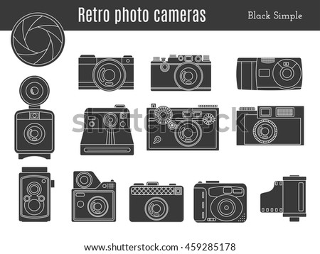 Collection of old retro photo cameras, shutter aperture and film in cartridge. Monochromatic black simple style icons. Vintage graphic design elements isolate on white background.  - stock photo