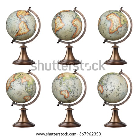 Collection of old style world globes isolated on white background. Showing all continents - stock photo