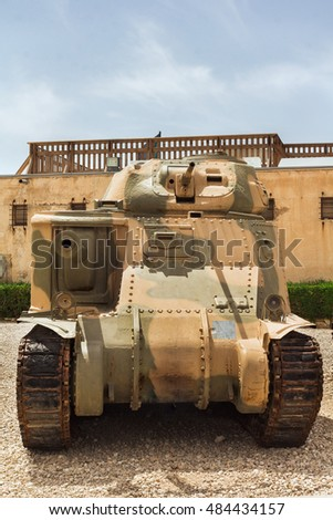 Collection of old tanks and armored vehicles in Israel