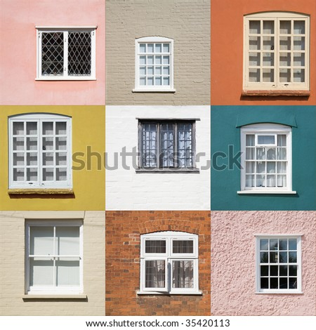 collection of old window on different colored walls